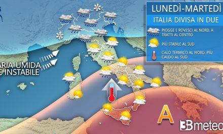 """3BMeteo: """"Italia a due facce, piogge al Centronord e caldo al Sud"""""""