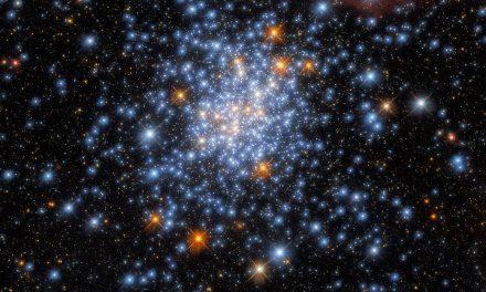 Hubble, telescopio spaziale, scopre un ammasso di rosso, bianco e blu